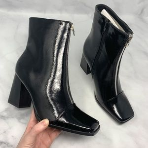 NEW Nasty Gal Moto Zip Square-Toe Ankle Booties 9